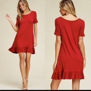 Dresses & Skirts - Red ruffle hem babydoll dress